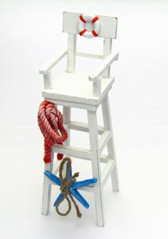 """13"""" Wood Lifeguard Chair With Beach Decorations"""