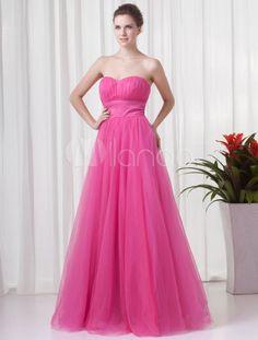 Vestido de fiesta de malla de color fucsia con escote de corazón de línea A - Milanoo.com