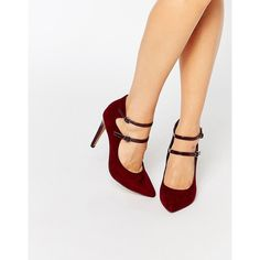 London Rebel Strappy Point Heeled Shoes (€51) ❤ liked on Polyvore featuring shoes, pumps, red, red high heel shoes, high heel pumps, pointy-toe pumps, pointed toe pumps and red pointy toe pumps