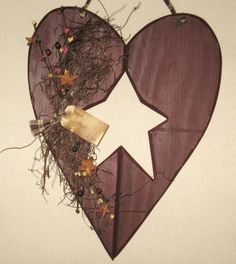 Secret Garden Florist - Hanging Heart With Star Cutout