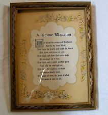 Vintage House Blessing Religious with Gold Colored Detailed Wood Frame House Blessing, Blessed, Wood, Frame, Vintage, Home Decor, Picture Frame, Decoration Home, Woodwind Instrument