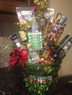 booze bouquet for a golf outing fundraiser