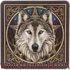 Conjunto de 6 posavasos de lobos. Ilustraciones de LISA PARKER.
