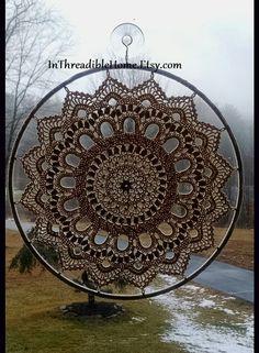 12 Ecru Crochet Sun Catcher Gallery Wall Home by InThreadibleHome