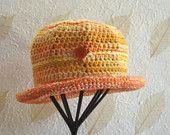 Western Sunset: Womans Crochet Hat,   Handmade Hat,  Small Hat,  Cotton Linen Bamboo Hat,  OOAK