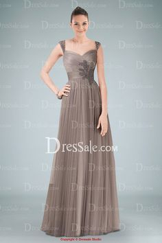 Airy Tulle Empire A-line Evening Dress Featuring Exquisite Applique and Ruffled Straps