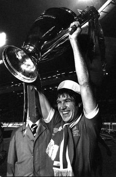 Liverpool FC captain Emlyn Hughes holding the European Cup at Wembley on May 10, 1978.