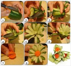 How to DIY Pretty Cucumber Carrot Garnish Flower  tutorial and instruction. Follow us: www.facebook.com/fabartdiy