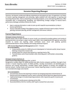 View this resume example for an investment reporting analyst with experience in financial management working for mortgage companies Build Your Resume, Business Performance, Financial Analyst, Portfolio Management, Mortgage Companies, Business Analyst, Daily Activities, Resume Examples, Financial Planning