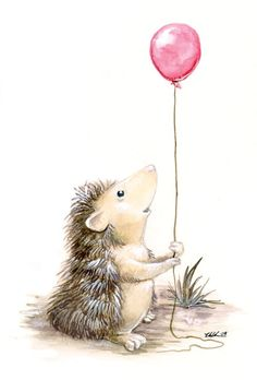 I think the pregnant mandrake ruptured something in my brain, and required me to paint something godawfully cute. Like a hedgehog with a balloon. The Hedgehog's Balloon Hedgehog Art, Hedgehog Drawing, Cute Hedgehog, Hedgehog Illustration, Cute Illustration, Watercolor Animals, Watercolor Art, Image Deco, Art Mignon