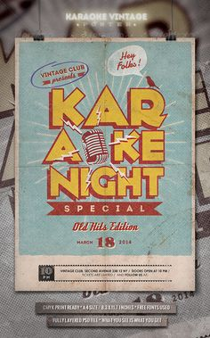 Karaoke Vintage Poster / Flyer — Photoshop PSD #alternative #rock • Available here → https://graphicriver.net/item/karaoke-vintage-poster-flyer/6674511?ref=pxcr