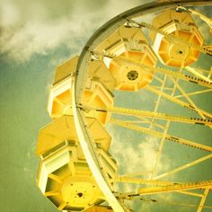 ferris wheel carnival fair photography yellow fair green nursery art - In the Clouds Carnival Photography, Fair Photography, Yellow Brick Road, Lemon Yellow, Mint Green, Shades Of Yellow, Happy Colors, Color Of Life, Mellow Yellow