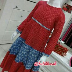 Gamis Polkatik by @butikbocah IDR 299k Warna merah kombinasi biru  Bahan katun polkadot dan batik garut Ready size S M L XL  Real clothes for real kids Proudly made in Indonesia