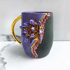 Crystal Mug in Amethyst, Geode Mug Modern Mud, Purple and Gold Mug, Handmade Ceramic Mug Quartz Geode, Amethyst Geode, Rose Quartz, Crochet Hook Case, Teal And Gold, Purple, Lilac, Blue, In Natura