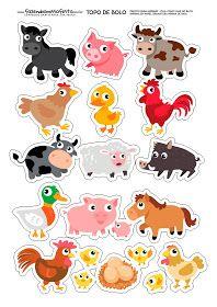 Animal Cake Topper Printable Stickers Printable Planners Planner S Farm Animal Cakes, Farm Animal Party, Farm Party, Animal Activities, Animal Crafts, Animal Cutouts, Baby Farm Animals, Animal Templates, Farm Birthday