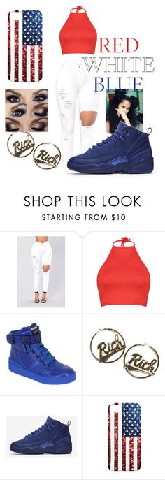 """""""Red White Blue"""" by dkandrews on Polyvore featuring Boohoo, Moschino, Joyrich and NIKE"""