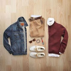 outfit grid Color of the day: burgundy Jacket: Gap Chinos: 484 Sweater: Topman Shirt: Grayson Griffin Shoes: Vans for Belt: Todd Snyder Wallet: J. Mode Outfits, Casual Outfits, Men Casual, Fashion Outfits, Mode Man, Fashion Network, Herren Outfit, Outfit Grid, Mode Masculine