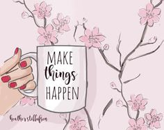 Make Things Happen - Spring Art - Cherry Blossoms - Coffee Art - Heather Stillufsen