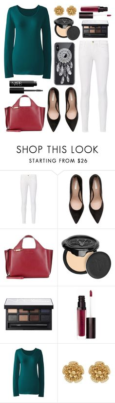 """Untitled #12497"" by ohnadine ❤ liked on Polyvore featuring Frame, Victoria Beckham, Revé, Kat Von D, NARS Cosmetics, Laura Mercier, Lands' End and Miriam Haskell"