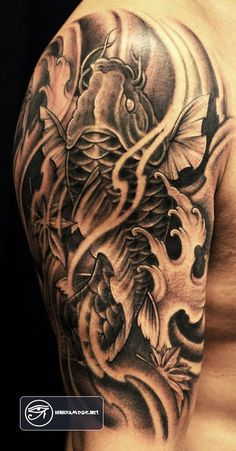 hình xăm cá chép Tattoo Koi #koi