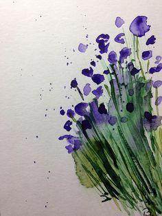 Aquarell Aquarellpostkarte Wiesenblumen