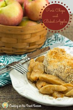 Pork Chops with Baked Apples via Cooking on the Front Burner