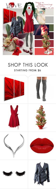 """""""Little Red Dress"""" by verysmallgoddess ❤ liked on Polyvore featuring interior, interiors, interior design, home, home decor, interior decorating, Ralph Lauren, Guide London, National Tree Company and Humble Chic"""