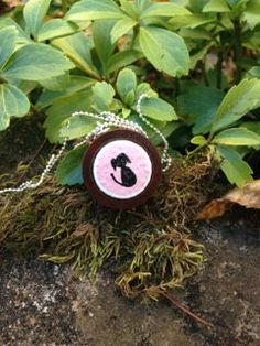 pink puppy dog miniature painting upcycled wine cork pendant by quarkcorks on Etsy