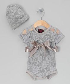 Royal Gem Gray Lace Bodysuit & Beanie - Infant | zulily