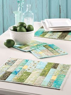 Green Tea Place Mats & Hot Pads Quilt Pattern Download from e-PatternsCentral.com -- Add a fresh, crisp look to your table with leftover strips, or purchase a precut package to liven up a table setting with this colorful pieced set.