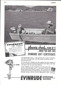 1945 Evinrude Outboard Motors Ad- Boy & Man Fishing Photo