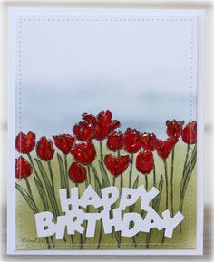 Here´s a card with one of the new lovely stamp and die from Penny Black!     Tulip queue   Birthday       Thanks!