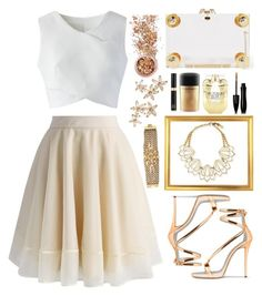 """""""White and Gold"""" by seashellvibes ❤ liked on Polyvore featuring Chicwish, Lulu Frost, Charlotte Olympia, In Your Dreams, Tom Ford, MAC Cosmetics, Victoria's Secret, Lancôme, Bonheur and Diane Von Furstenberg"""