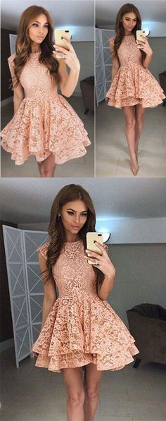 Homecoming Dresses,Homecoming Dress,Charming A-Line Round Neck Homecoming Dress,Short Prom Dress,Mini Dress,Lace Cocktail Dress,Lace Short Homecoming Dress,A-line Homecoming Gown