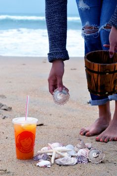Enjoying the simple things, like collecting seashells on the beach, is easier with ice cold Orange Mango FruiTea Chillers.