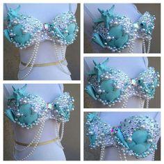 Blue shell Mermaid bra
