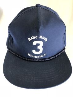 0335267c1924a A Babe Ruth Birthplace Product Blue   Black Baseball Hat Cap Snapback One  Size  fashion
