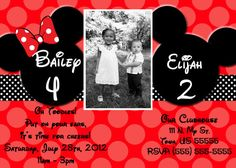 Custom Joint Mickey and Minnie Mouse Invitation OR by SkyeCreation, $10.00
