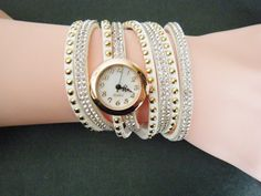 White Woman Stunning Rhinestone Wrap Fashion Bracelet Wristwatch Watch