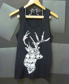 Flower deer Aztec tank top graphic animal shirt S M L XL Black racerback tank #unbranded #TankCami #Casual