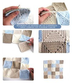 Solid Granny Squares pillow, step by step tutorial full of images. Crochet Square Patterns, Crochet Blocks, Crochet Squares, Granny Squares, Crochet Granny, Crochet Motif, Crochet Cushion Cover, Crochet Cushions, Crochet Pillow
