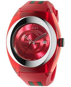 Gucci Unisex Swiss Red and Green Rubber Strap Watch 46mm YA137103 - Gucci - Jewelry & Watches - Macy's