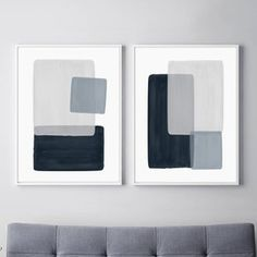Blue Gray Abstract Art PRINTABLE set of 2 Watercolor | Etsy