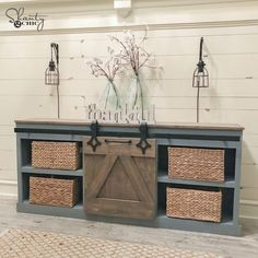 DIY Sliding Barn Door Console - Shanty 2 Chic Start building amazing sheds the easier way with a collection of shed plans! Ikea Furniture, Shabby Chic Furniture, Furniture Projects, Furniture Plans, Rustic Furniture, Furniture Stores, Scandinavian Furniture, Luxury Furniture, Garden Furniture
