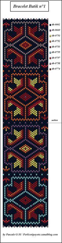 Bracelet Batik ( réédition du 5/03/2008 ) - perlicoti-peyote
