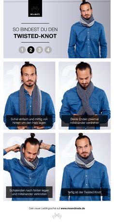 Stylishe Variante für deinen Herrenschal! Binde deinen zweifarbigen Winterschal mit dem ausgefallenen Twisted-Knot!