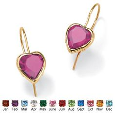 Heart-Shaped Simulated Birthstone 10k Yellow Gold Drop Earrings- June- Simulated Alexandrite -