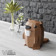 3D Papercraft Beaver Valentine's Day Gift Gravity Falls