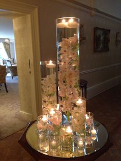 Cymbidium orchid cylinder vases - Home Page Tropical Wedding Centerpieces, Floating Candle Centerpieces, Orchid Centerpieces, Wedding Table Centerpieces, Wedding Decorations, Deco Table, Decoration Table, Floral, Beautiful