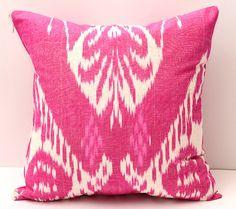 15x15 Ikat pink pillow cover, pink ikat, pink ikat pillow, ikat pillow cover, ikat cushion, ikat pink